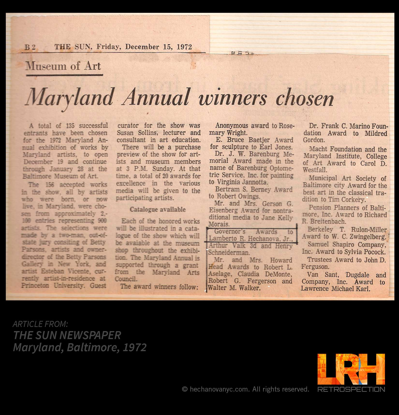 1972 Governor's Award