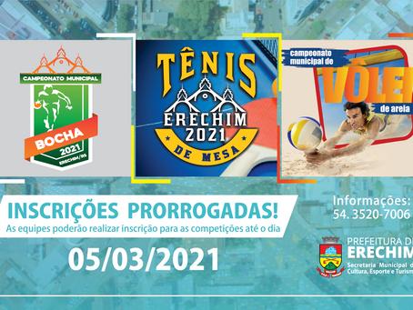 Prorrogadas inscrições em campeonatos de Bocha, Vôlei de Areia e Tênis de Mesa