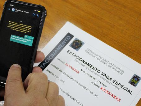 Idosos podem solicitar cartão de estacionamento pelo WhatsApp