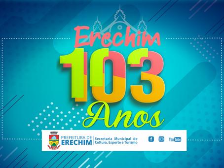 Cultura destaca o aniversário de 103 anos de Erechim