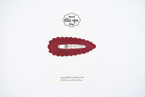 Dark Red Suede | XL Scalloped Snap Clip