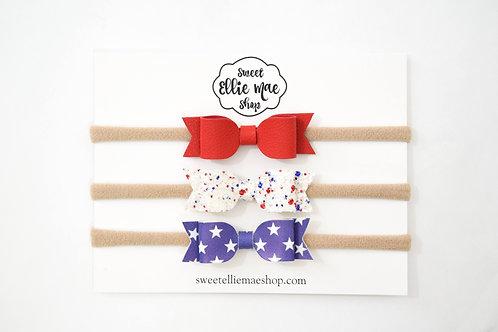 Red, Freedom Fireworks, Blue Stars | Mini Mae bows