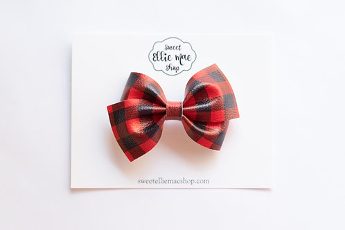 Red Plaid | Thick, Mini or Little Lou Bows