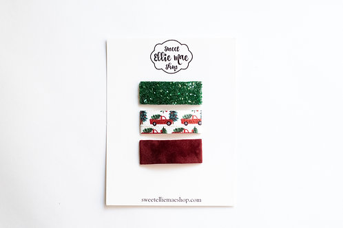 Evergreen Glitter, Red Trucks, Mahogany Velvet | Snap Clips