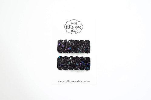 Black Iridescent Stars | Scalloped Snap Clips