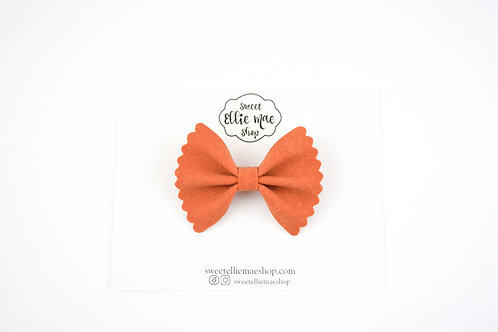 Pumpkin Spice Suede | Mini Scalloped Ellie Bow