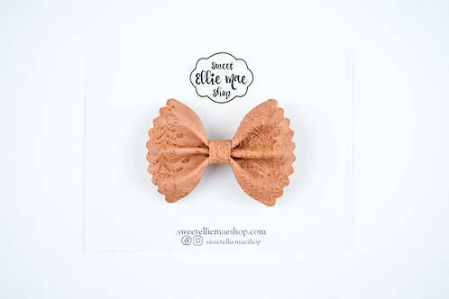 Saddle Brown Embossed  | Mini Scalloped Ellie Bow