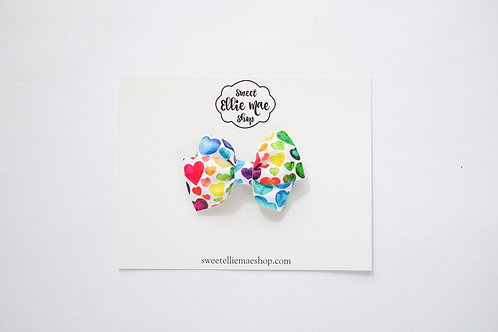 Watercolor Rainbow Hearts | Mini Lou Bow