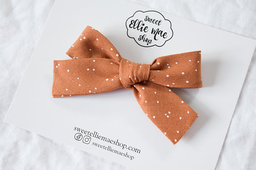 Dots in Gingerbread   Hand-tied Gracie Bow