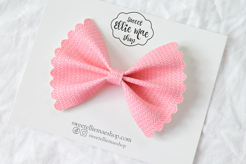 Pink Sweater |  Scalloped Ellie Bow