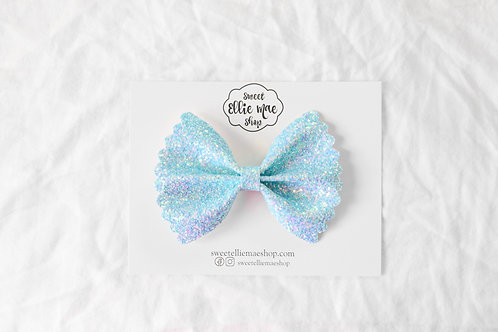 Iridescent Baby Blue |  Scalloped Ellie Bow