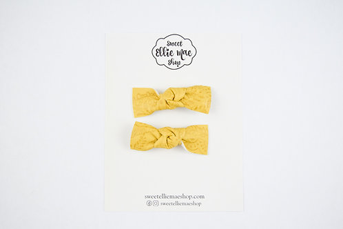 Mustard Embossed | Knotted Bow