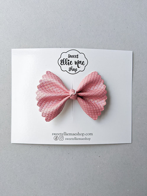 Pink Mermaid Scales   Mini Scalloped Ellie Bow