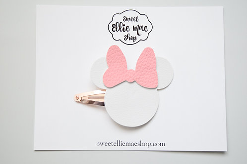 White & Pink Faux Leather | Mouse Snap Clips