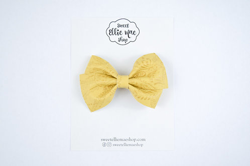 Mustard Embossed | Thick Lou Bow