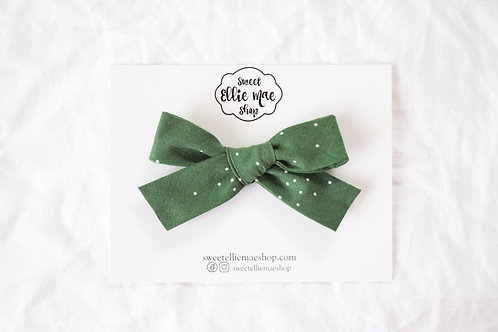Dots in Forest Green | Hand-tied Gracie Bow