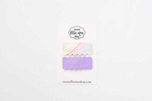 Pastel Stripes & Pastel Purple | Scalloped Snap Clips