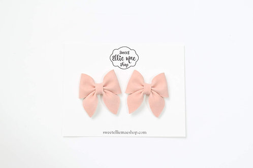 Dusty Pink Suede | Mini Sailor Bows