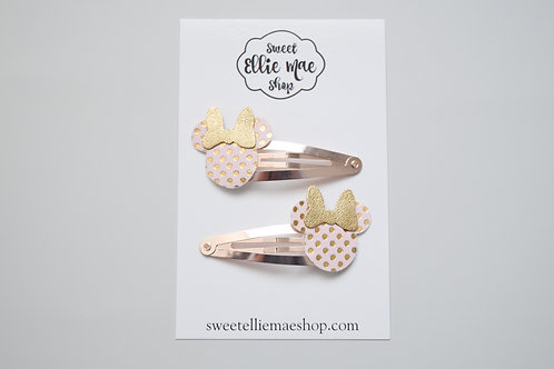 Pale Pink & Gold Dot | Mini Mouse Snap Clips