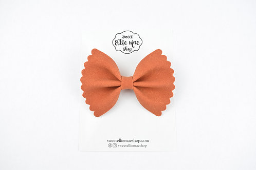 Pumpkin Suede |  Scalloped Ellie Bow