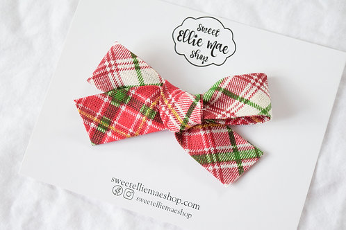 Linen Christmas Plaid | Hand-tied Gracie Bow