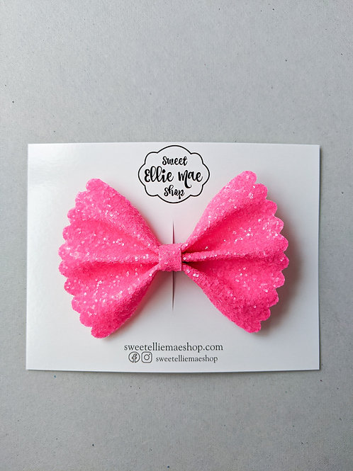 Neon Pink    Scalloped Ellie Bow