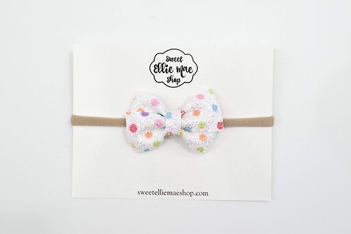 Rainbow Polka Dot Glitter | Mini Lou Bow