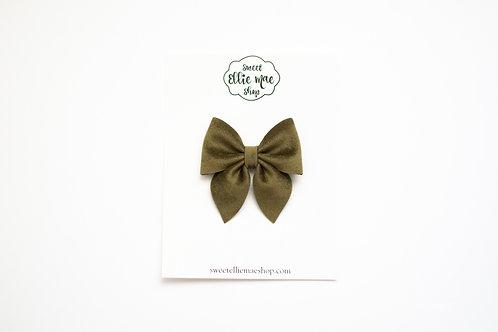 Olive Velvet | Midi Sailor Bow