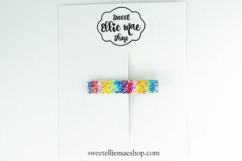Rainbow Glitter   Bar Clip