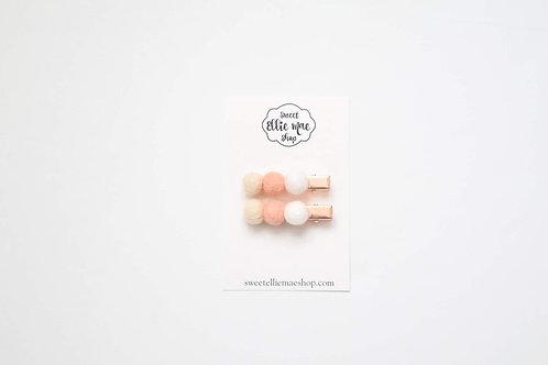 Peachy | Felt Ball Bar Clip