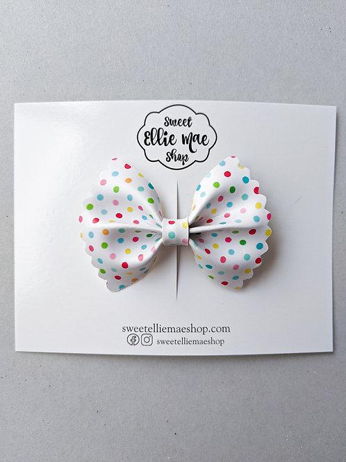 Party Polka Dots   Mini Scalloped Ellie Bow