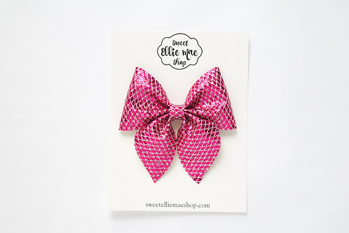 Fuchsia Net Glitter   Large Sailor Bow