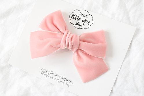 Blush  | Hand-tied Velvet Bow