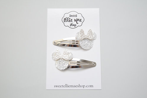 Crystal Glitter & Pearl  | Mini Mouse Snap Clips