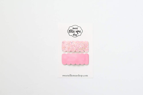 Pink Glass and Perfectly Pink | Scalloped Snap Clips