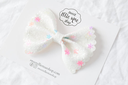 Colorful Snowflakes Glitter |  Scalloped Ellie Bow