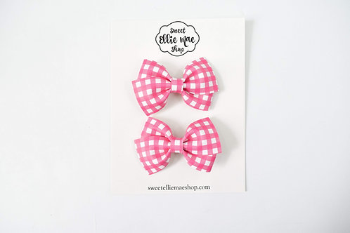Pink Gingham | Mini Lou Bow