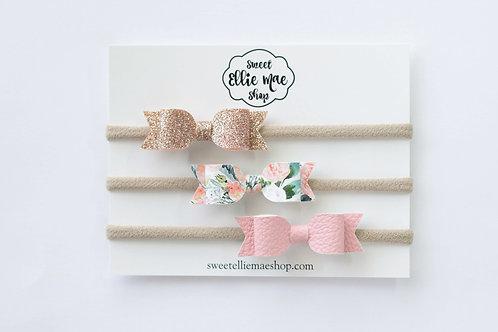 Blush, Lush Blush Floral, Pale Rose Gold | Mini Mae bows