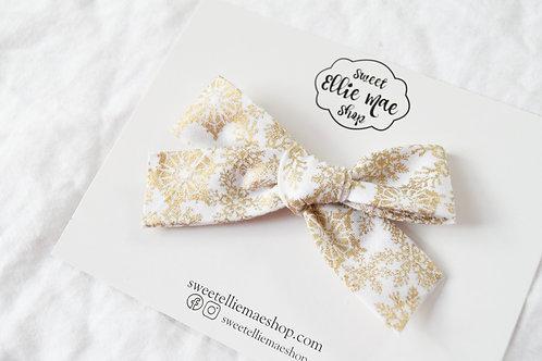Metallic Gold Snowflakes   Hand-tied Gracie Bow
