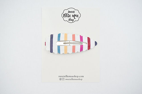 Fall Stripes | XL Scalloped Snap Clip