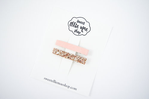 Dusty Pink, Antique Gold | Bar Clips