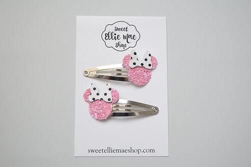 Pink Glitter & Black Polka Dot  | Mini Mouse Snap Clips