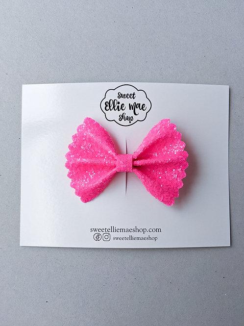 Neon Pink   Mini Scalloped Ellie Bow