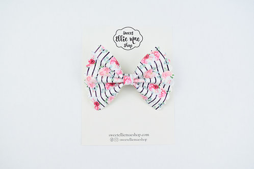 Floral Stripes |  Scalloped Ellie Bow