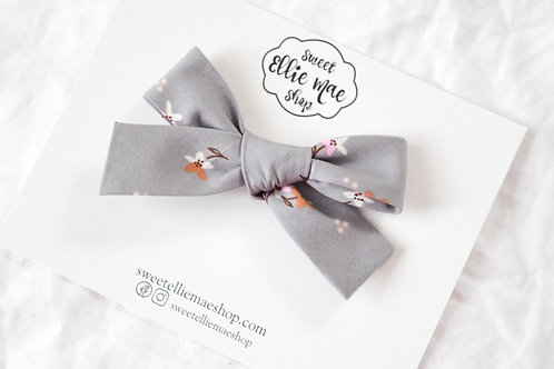Grey with Dainty Floral | Hand-tied Gracie Bow