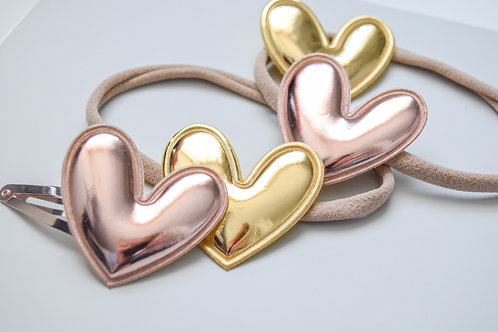 Gold Or Rose Gold | Puff Metallic Hearts