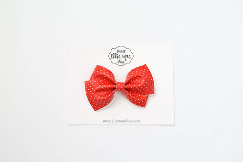 Red & Mini Polka Dots   Thick Lou Bow