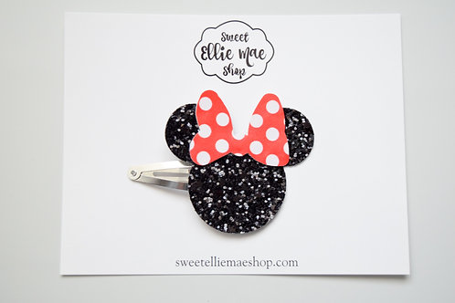 Black Glitter & Red Polka Dot   Mouse Snap Clips