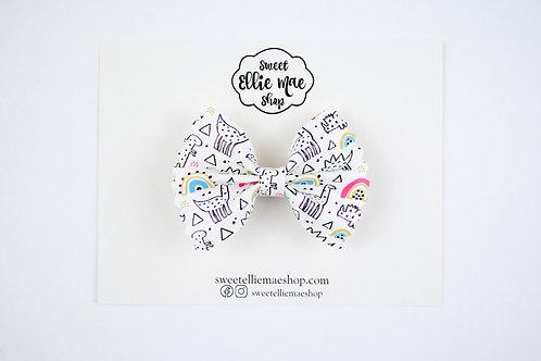 Monochrome Dinos | Mini Scalloped Ellie Bow