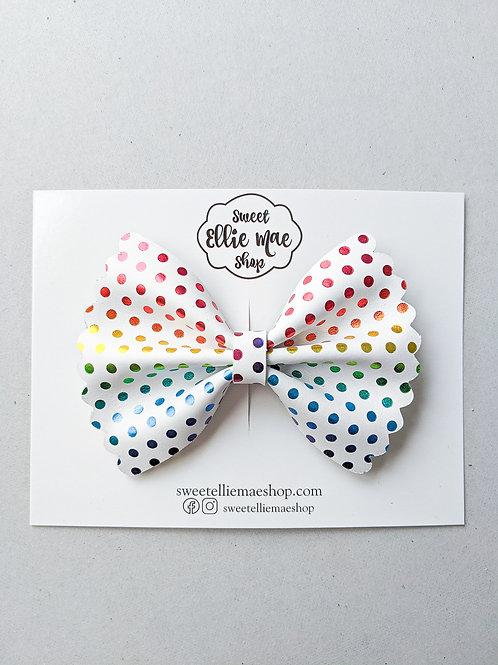 Rainbow Polka Dots    Scalloped Ellie Bow